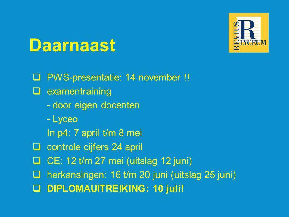 Daarnaast PWS-presentatie: 14 november !! examentraining