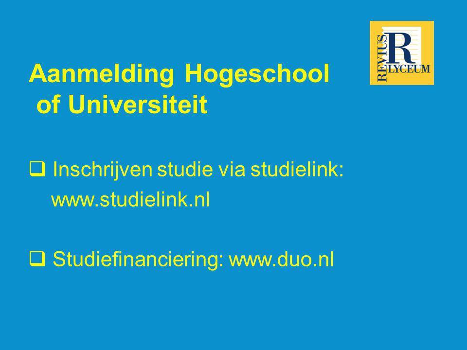 Aanmelding Hogeschool of Universiteit