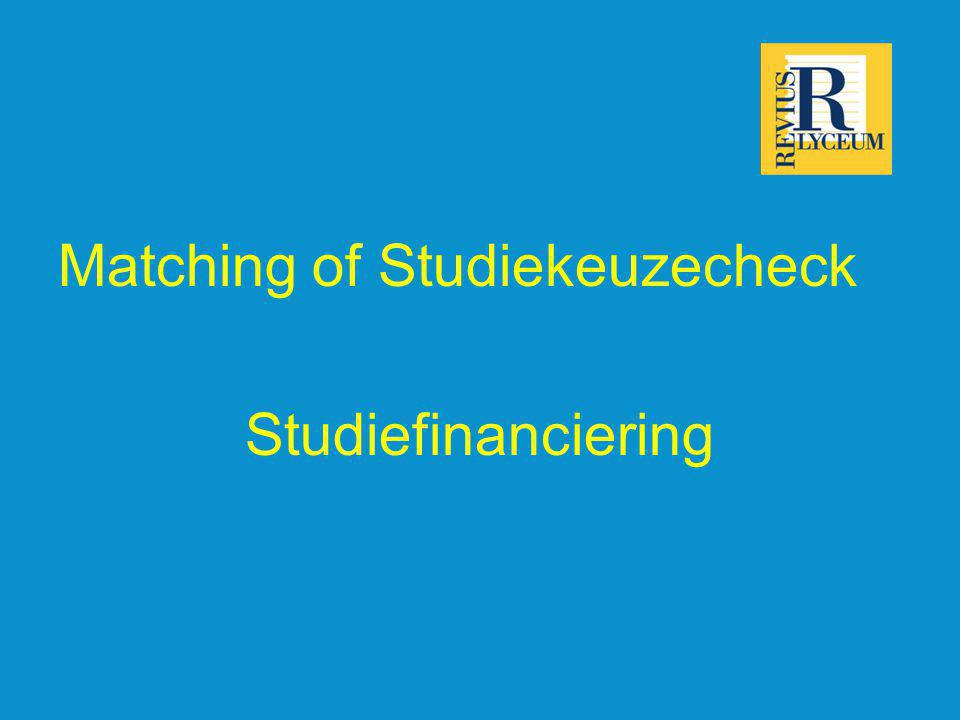 Matching of Studiekeuzecheck Studiefinanciering