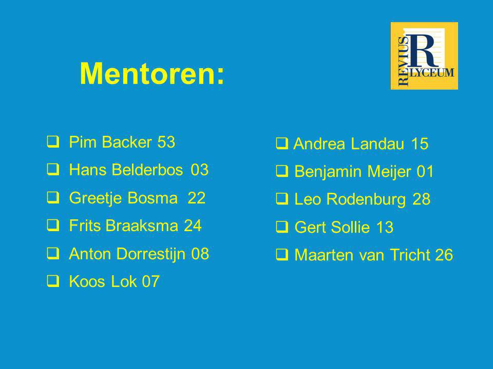 Mentoren: Pim Backer 53 Andrea Landau 15 Hans Belderbos 03
