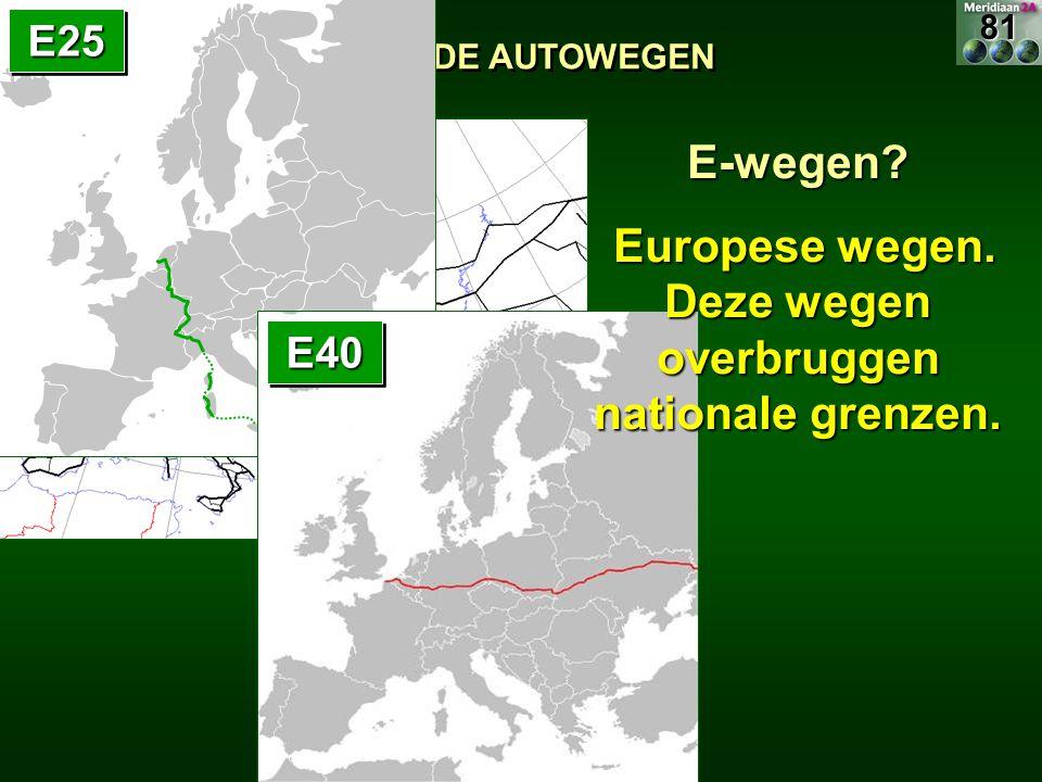 Europese wegen. Deze wegen overbruggen nationale grenzen.
