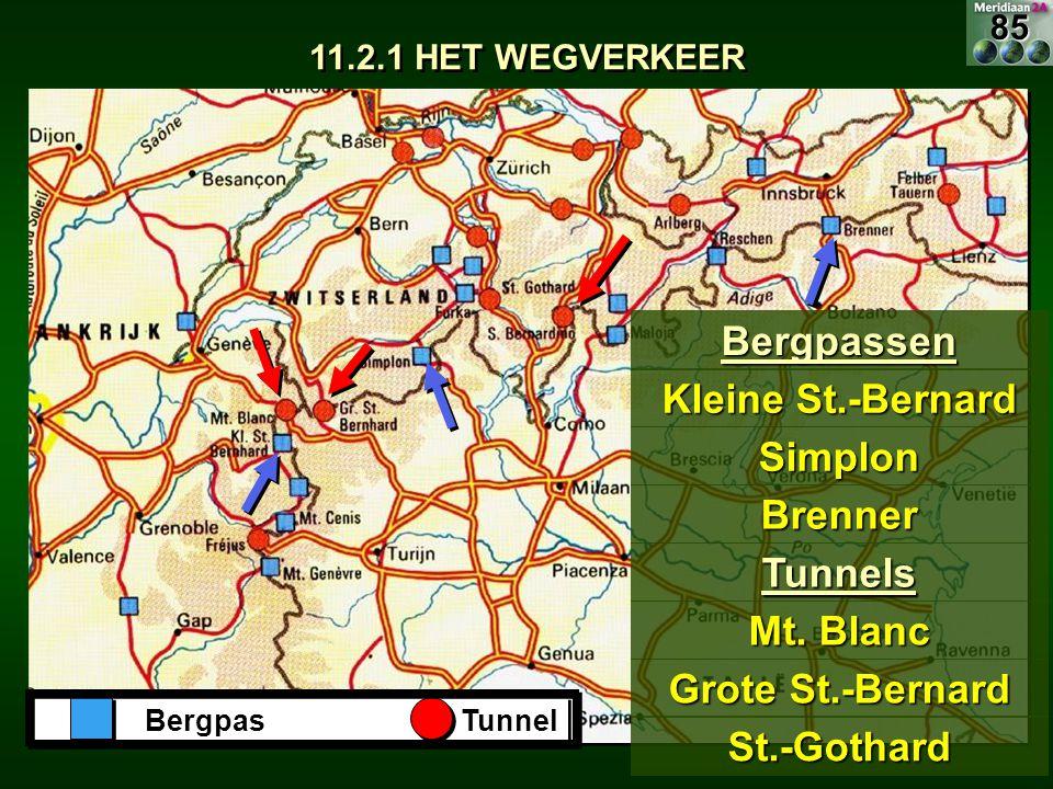 Bergpassen Kleine St.-Bernard Simplon Brenner Tunnels Mt. Blanc