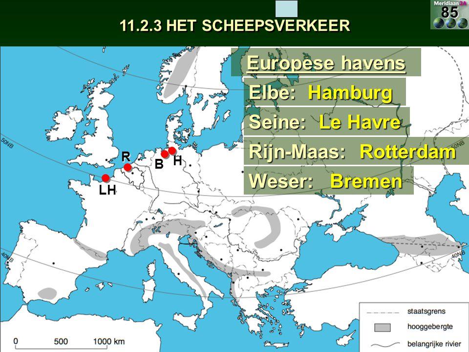 Europese havens Elbe: Hamburg Seine: Le Havre Rijn-Maas: Rotterdam