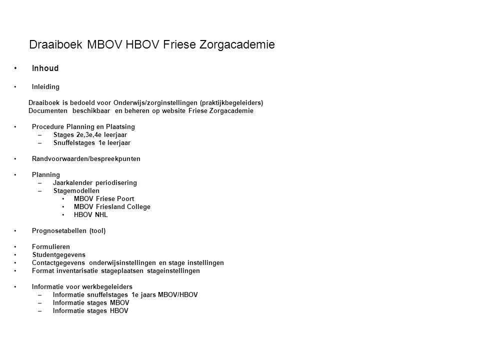 Draaiboek MBOV HBOV Friese Zorgacademie