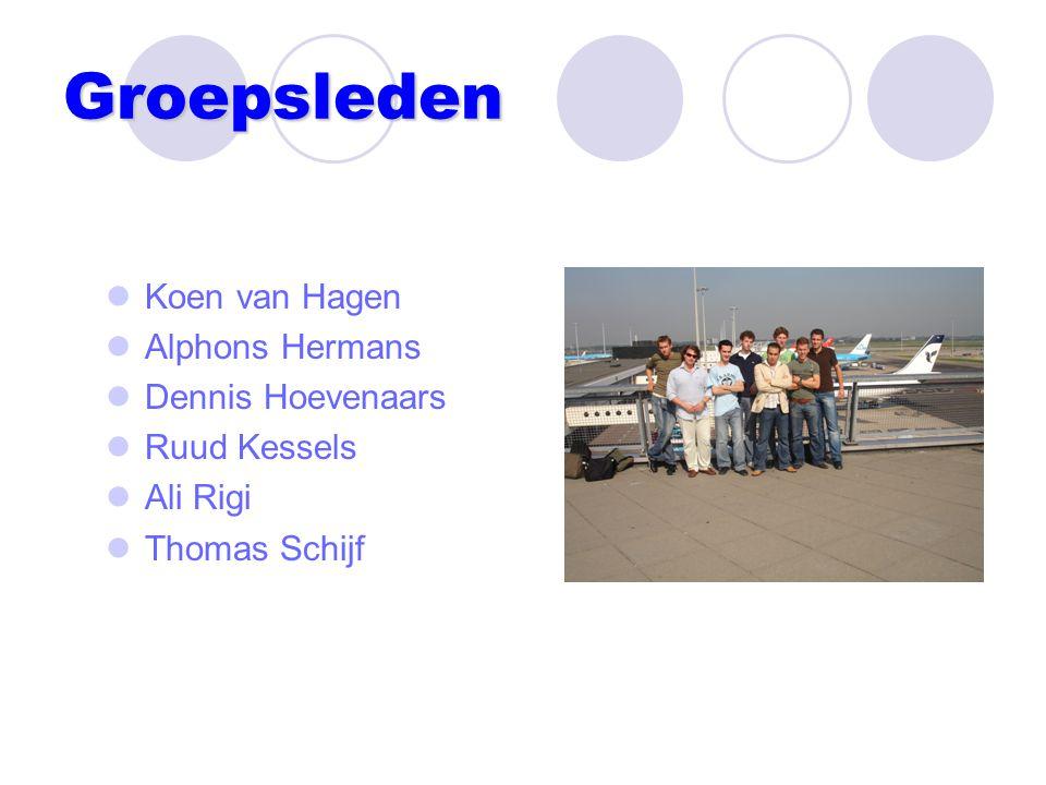 Groepsleden Koen van Hagen Alphons Hermans Dennis Hoevenaars