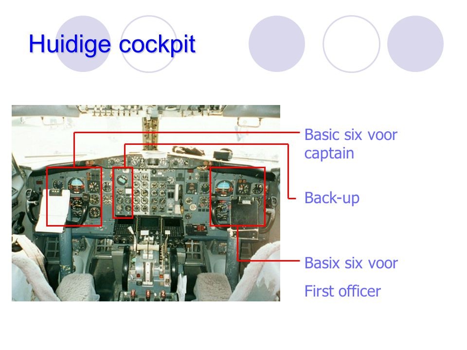 Huidige cockpit Basic six voor captain Back-up Basix six voor