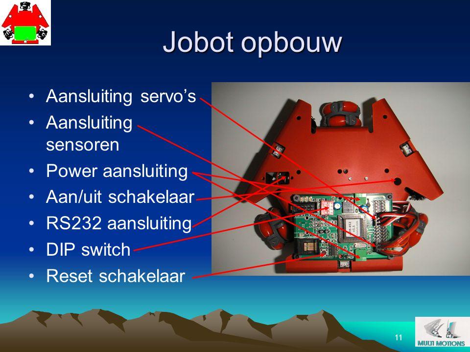 Jobot opbouw Aansluiting servo's Aansluiting sensoren