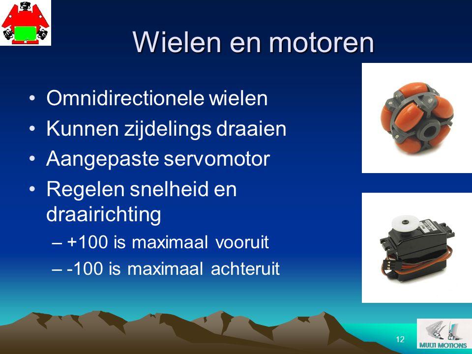 Wielen en motoren Omnidirectionele wielen Kunnen zijdelings draaien