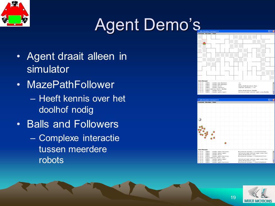 Agent Demo's Agent draait alleen in simulator MazePathFollower