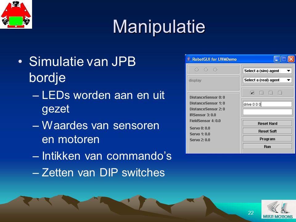 Manipulatie Simulatie van JPB bordje LEDs worden aan en uit gezet