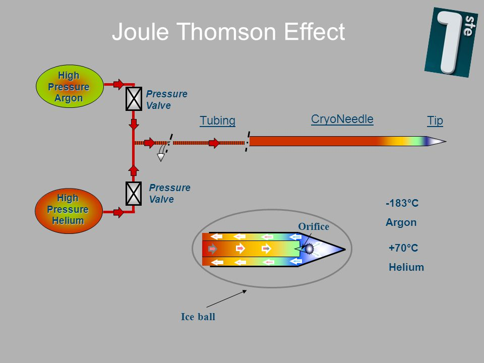 Joule Thomson Effect Tubing CryoNeedle Tip -183°C Argon Orifice +70°C