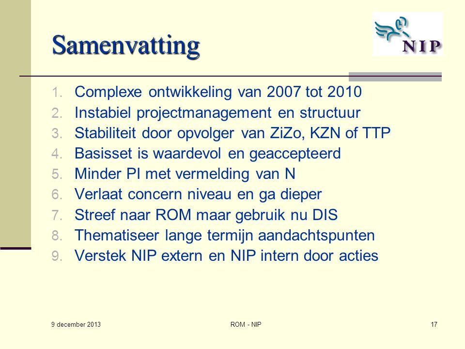 Samenvatting Complexe ontwikkeling van 2007 tot 2010