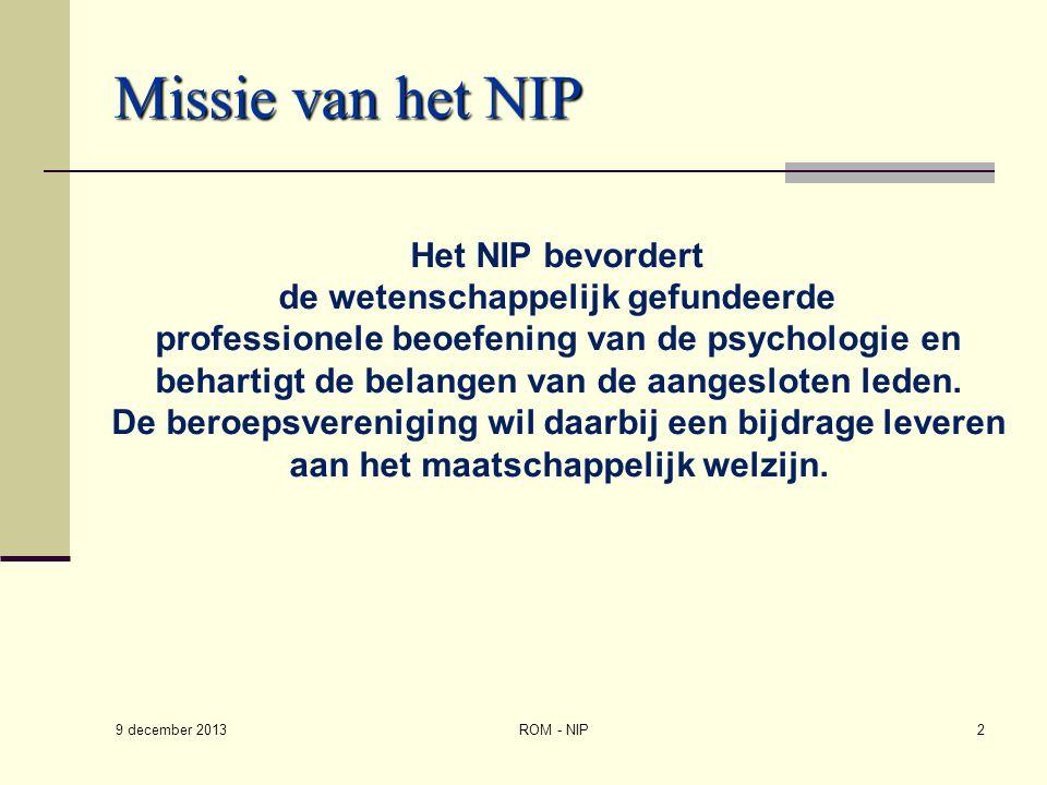Missie van het NIP de wetenschappelijk gefundeerde
