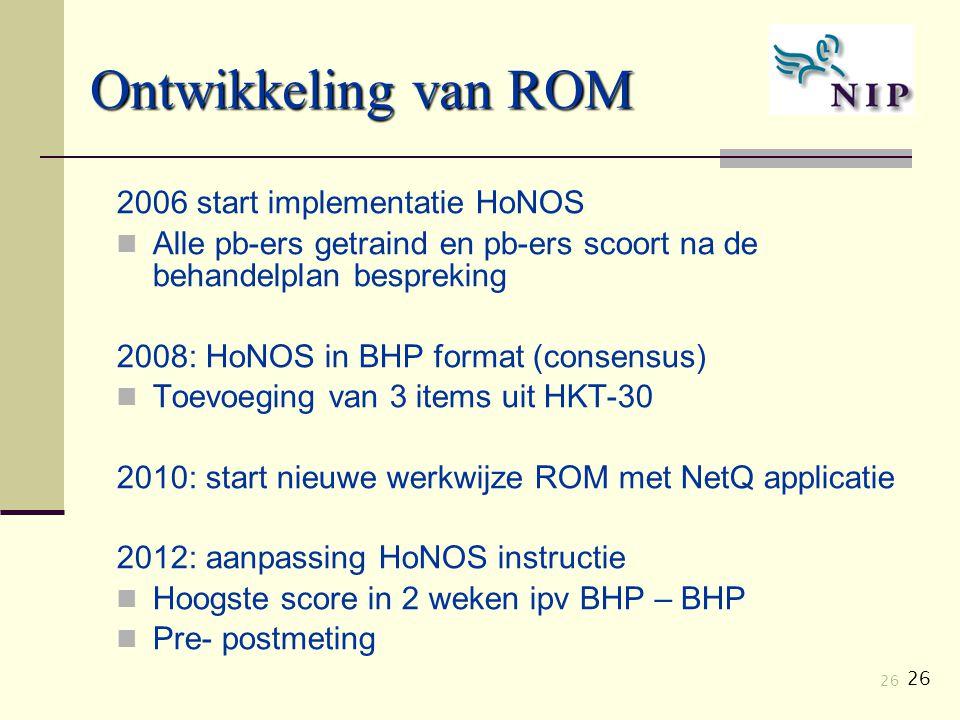 Ontwikkeling van ROM 2006 start implementatie HoNOS