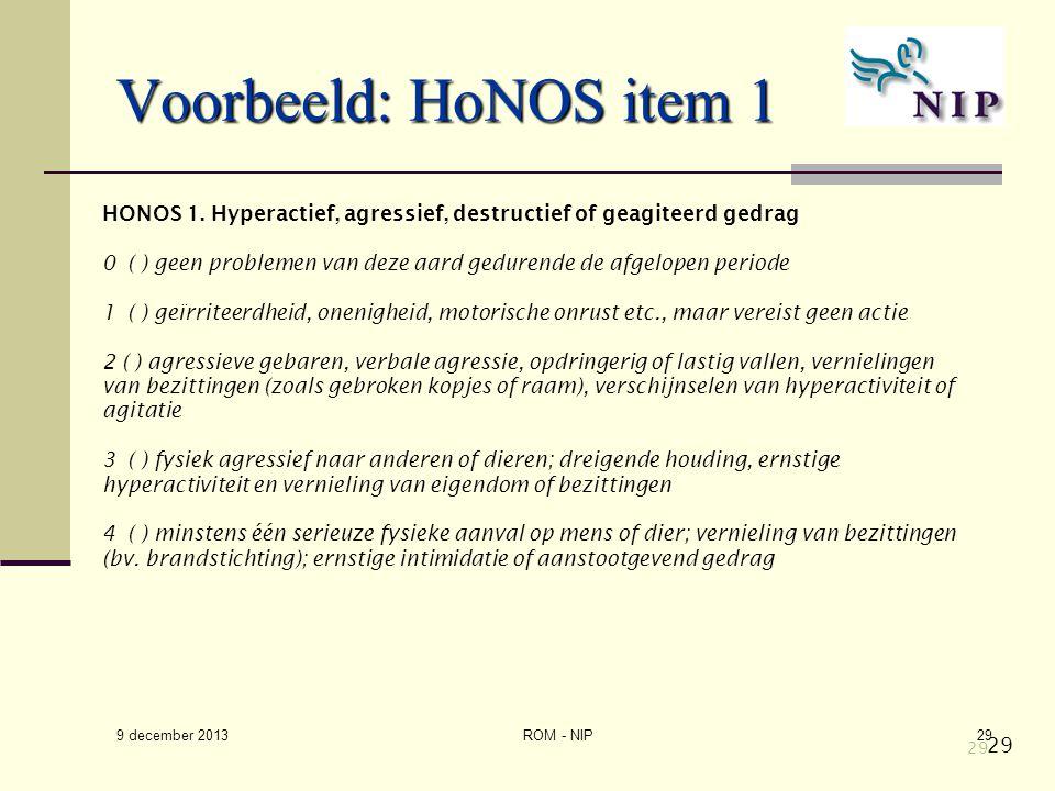 Voorbeeld: HoNOS item 1 HONOS 1. Hyperactief, agressief, destructief of geagiteerd gedrag.