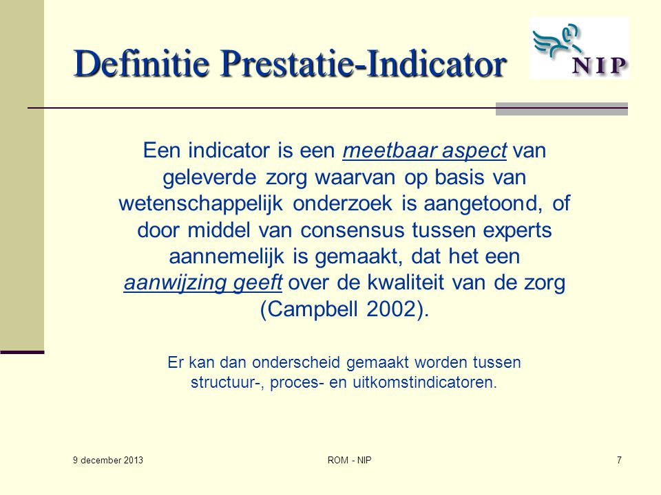 Definitie Prestatie-Indicator