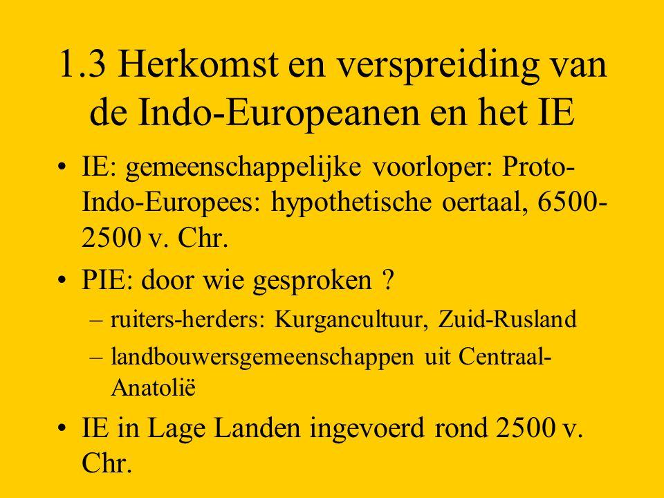 1.3 Herkomst en verspreiding van de Indo-Europeanen en het IE