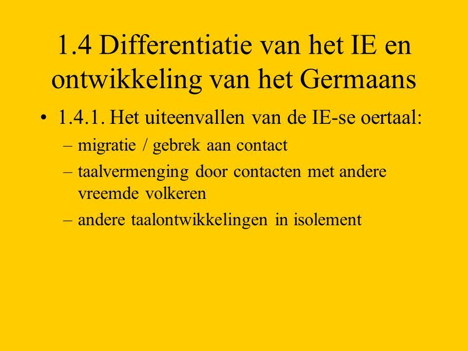 1.4 Differentiatie van het IE en ontwikkeling van het Germaans