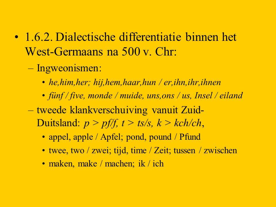 1. 6. 2. Dialectische differentiatie binnen het West-Germaans na 500 v