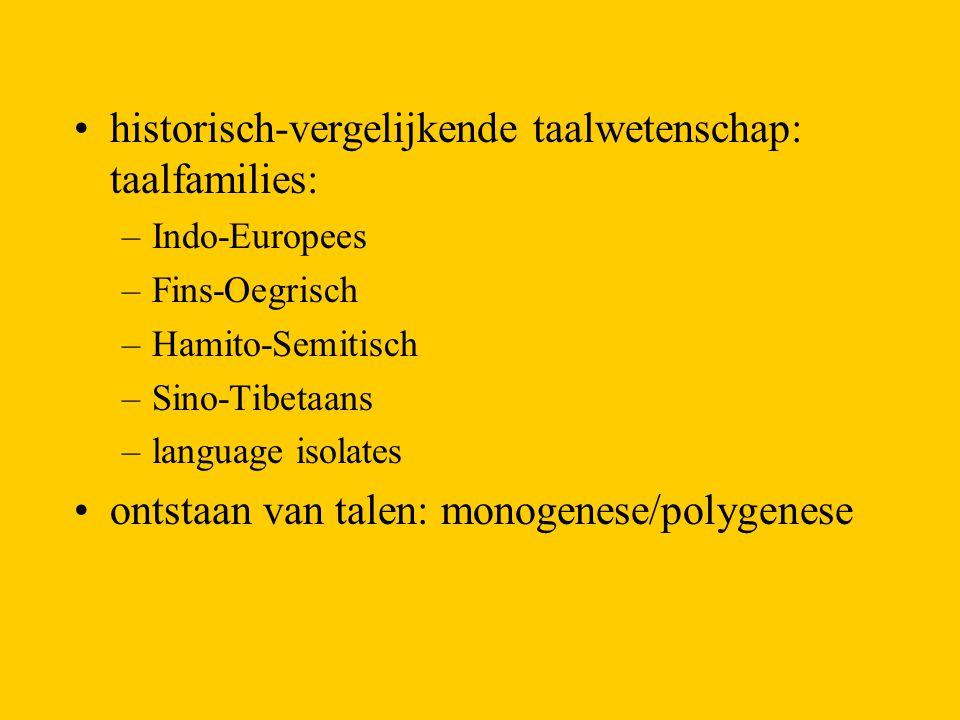 historisch-vergelijkende taalwetenschap: taalfamilies: