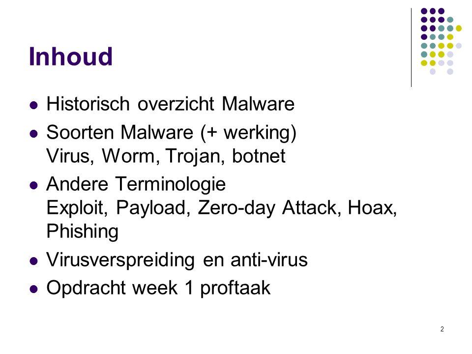 Inhoud Historisch overzicht Malware