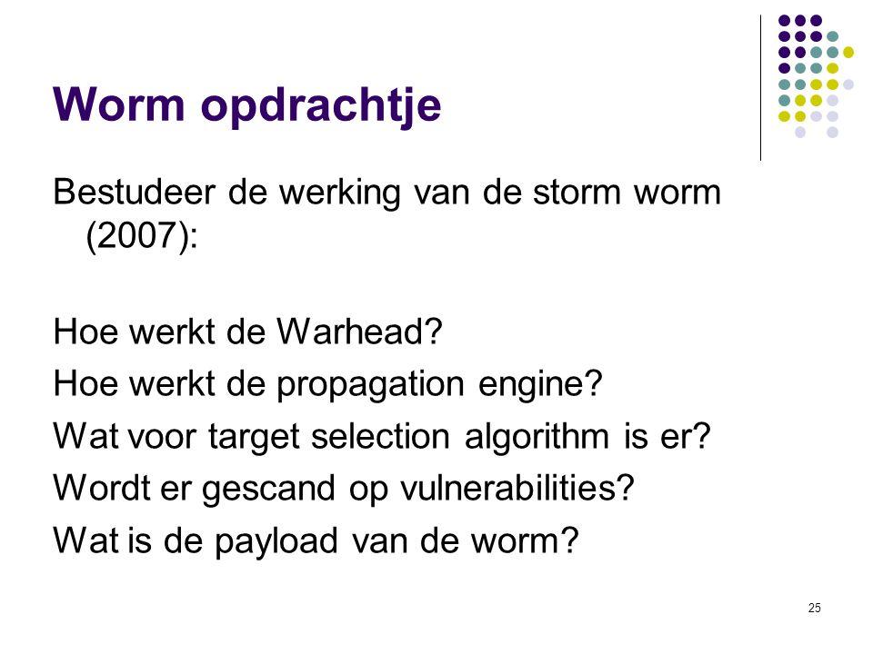 Worm opdrachtje Bestudeer de werking van de storm worm (2007):