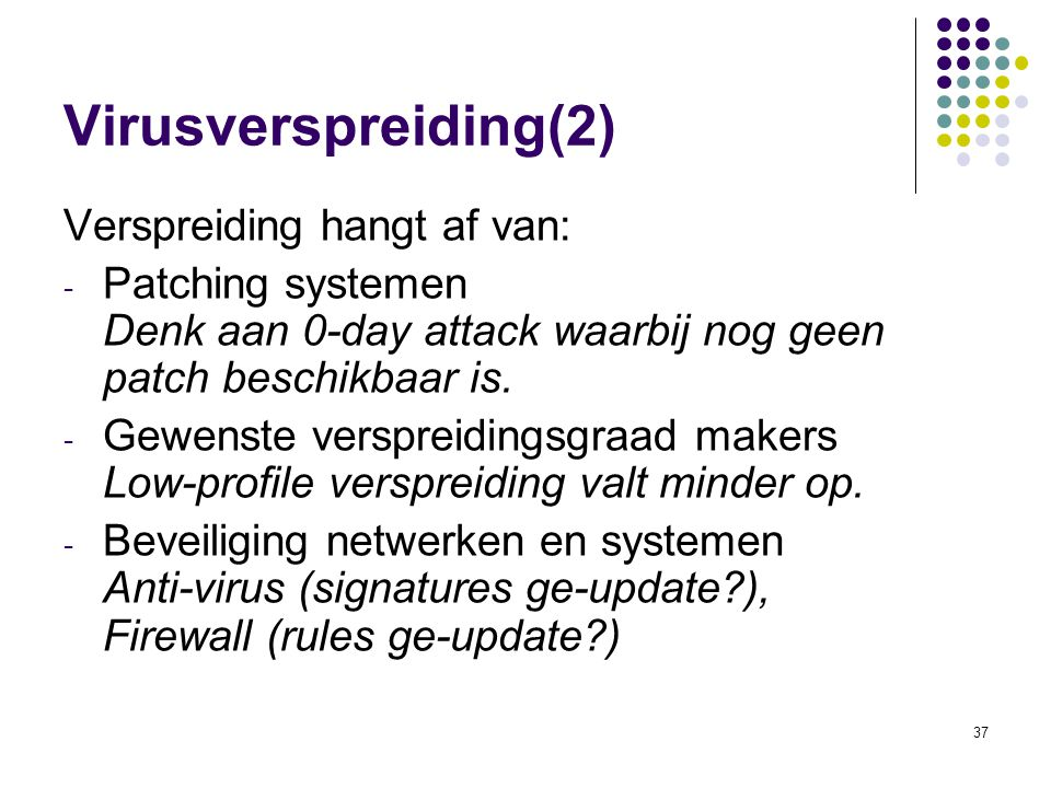 Virusverspreiding(2) Verspreiding hangt af van: