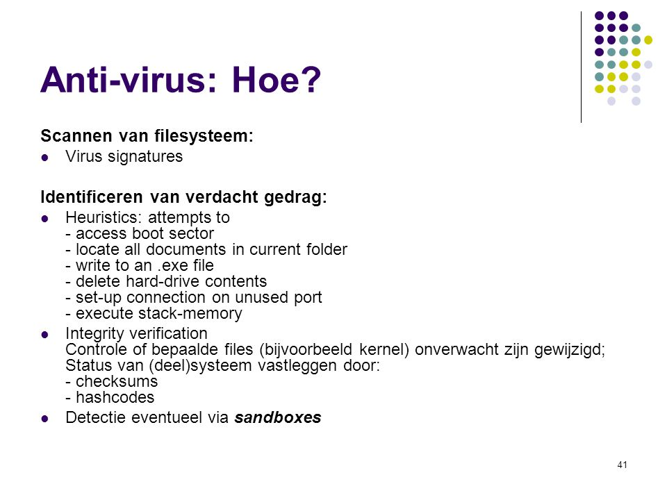 Anti-virus: Hoe Scannen van filesysteem: