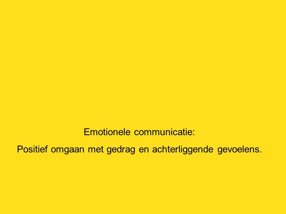 Emotionele communicatie: Positief omgaan met gedrag en achterliggende gevoelens.