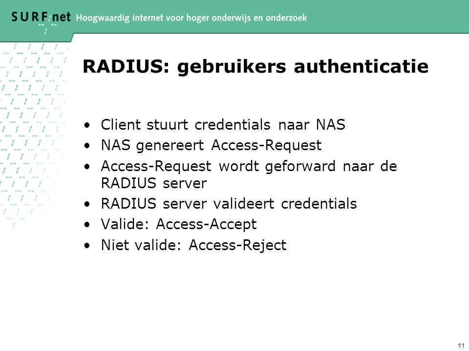 RADIUS: gebruikers authenticatie