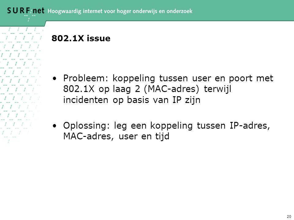 Oplossing: leg een koppeling tussen IP-adres, MAC-adres, user en tijd