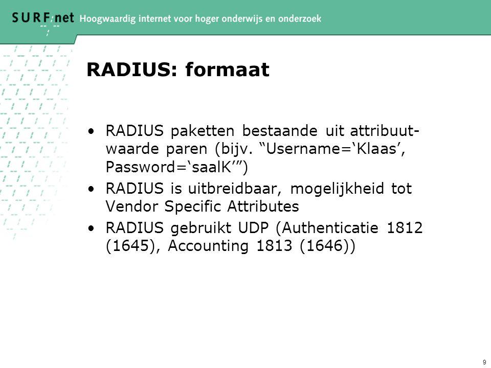RADIUS: formaat RADIUS paketten bestaande uit attribuut-waarde paren (bijv. Username='Klaas', Password='saalK' )
