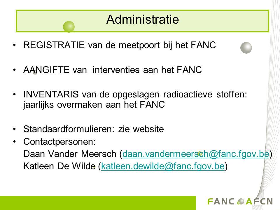 Administratie REGISTRATIE van de meetpoort bij het FANC
