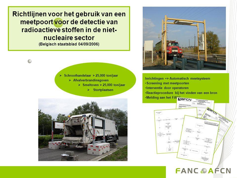 Richtlijnen voor het gebruik van een meetpoort voor de detectie van radioactieve stoffen in de niet-nucleaire sector (Belgisch staatsblad 04/09/2006)