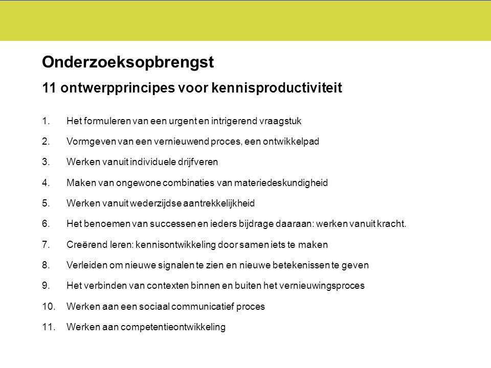 Onderzoeksopbrengst 11 ontwerpprincipes voor kennisproductiviteit