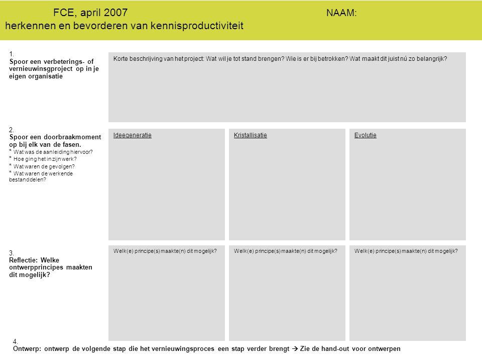 FCE, april 2007 NAAM: herkennen en bevorderen van kennisproductiviteit