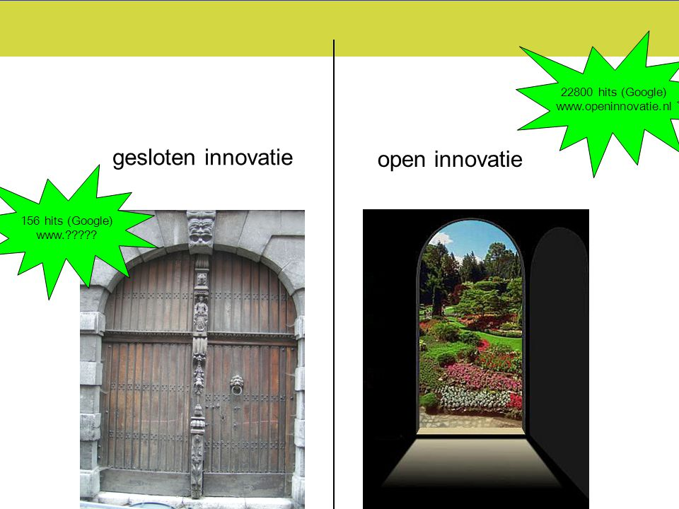 gesloten innovatie open innovatie 22800 hits (Google)