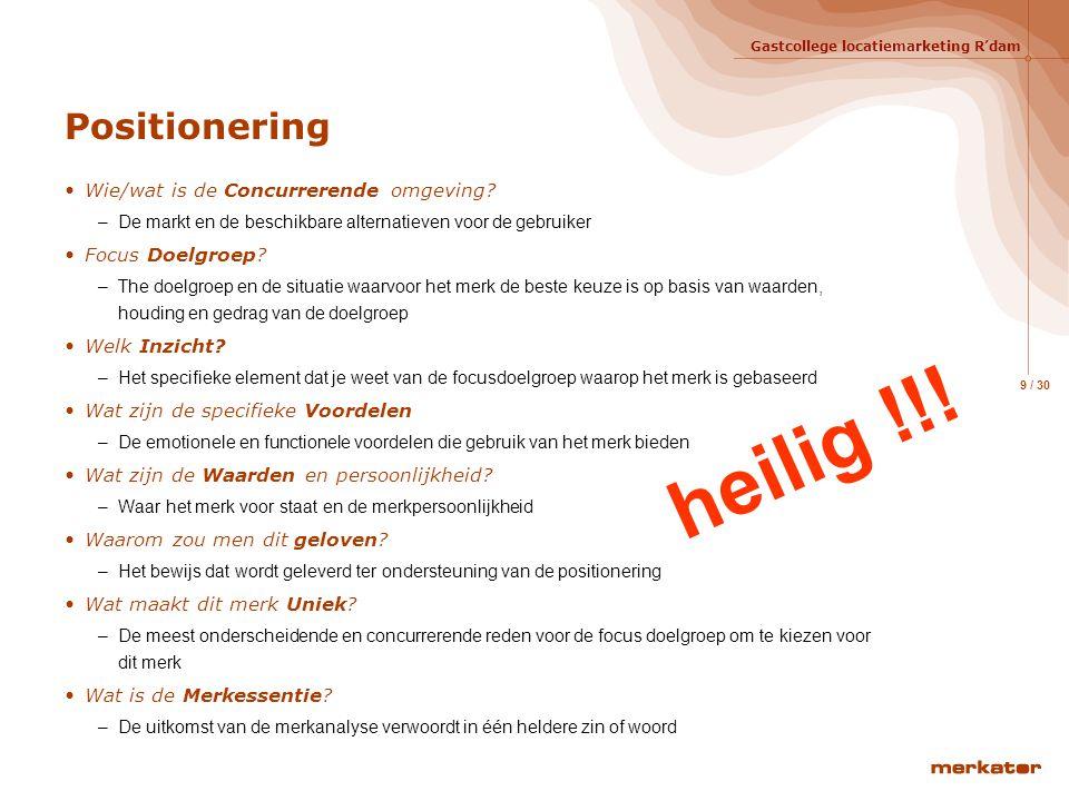 heilig !!! Positionering Wie/wat is de Concurrerende omgeving