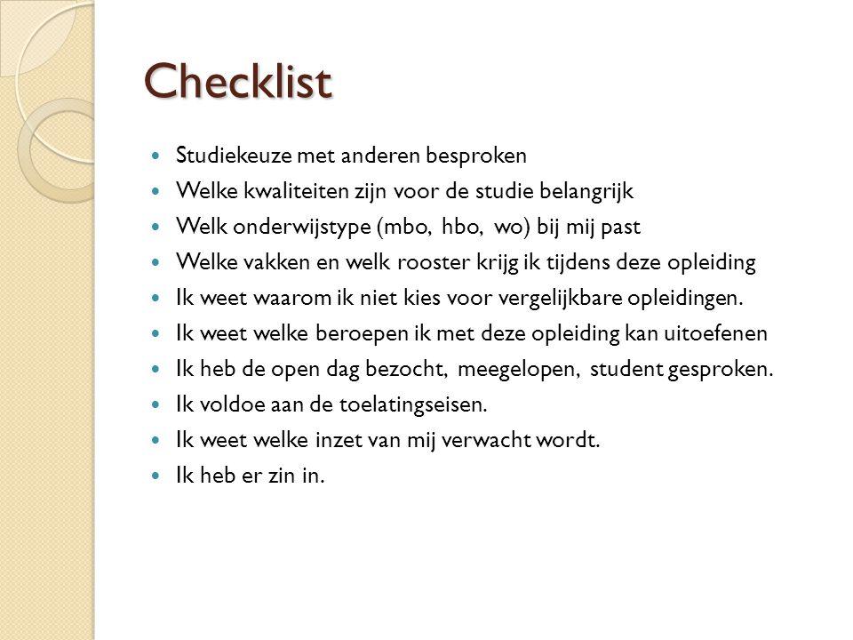 Checklist Studiekeuze met anderen besproken