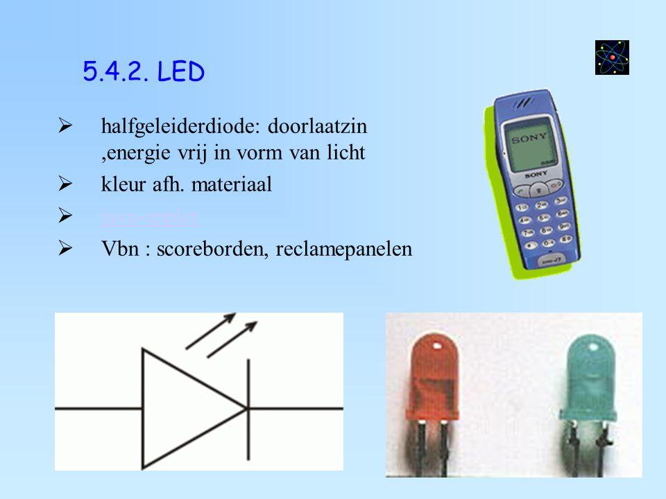 5.4.2. LED halfgeleiderdiode: doorlaatzin ,energie vrij in vorm van licht. kleur afh. materiaal. java-applet.