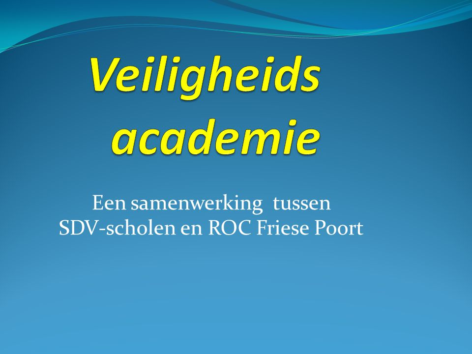 Een samenwerking tussen SDV-scholen en ROC Friese Poort