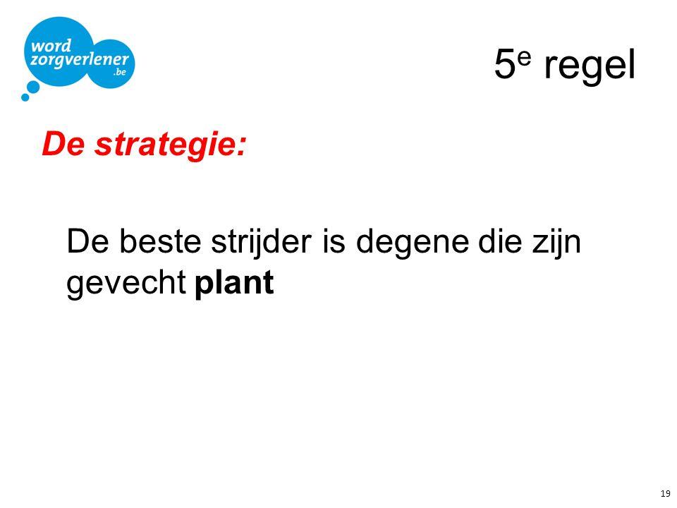 5e regel De strategie: De beste strijder is degene die zijn gevecht plant