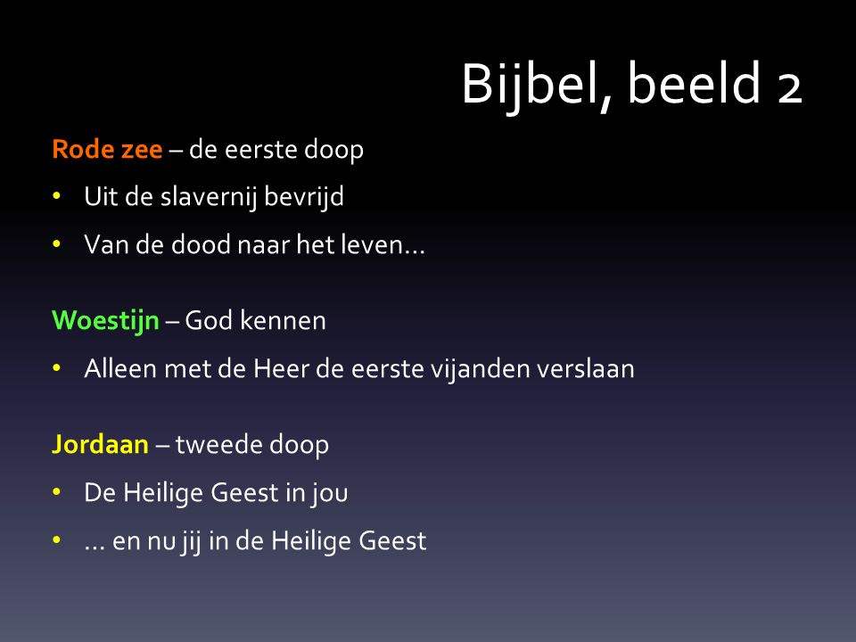 Bijbel, beeld 2 Rode zee – de eerste doop Uit de slavernij bevrijd