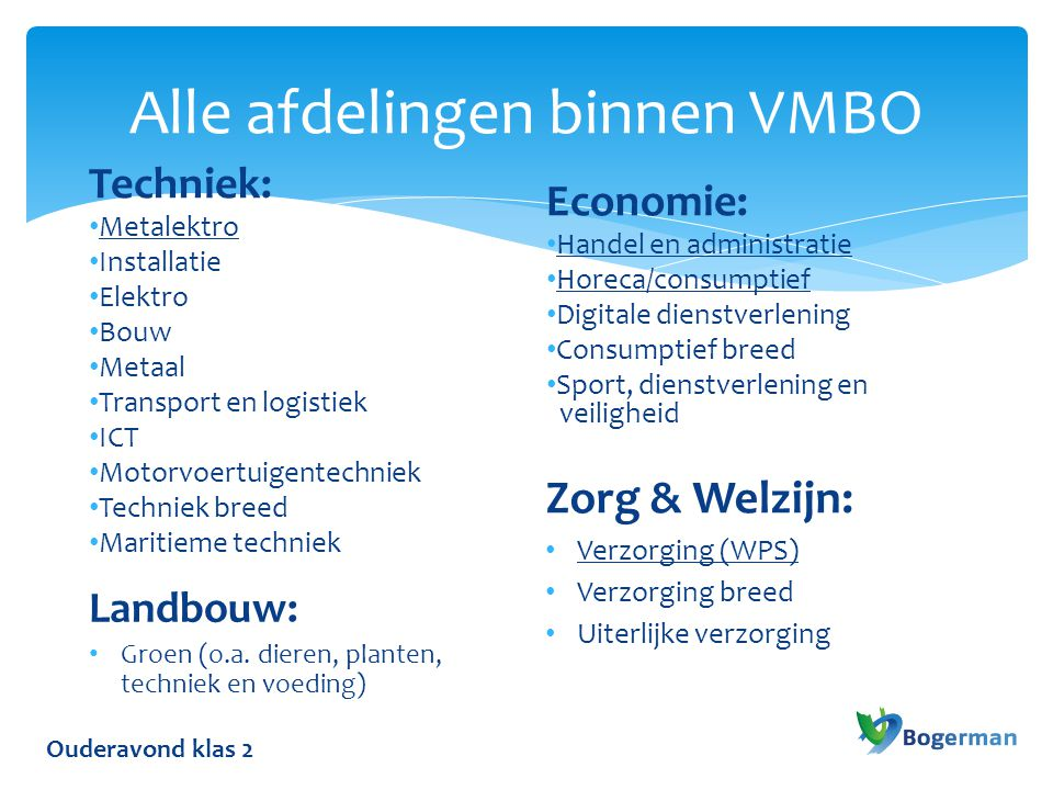 Alle afdelingen binnen VMBO
