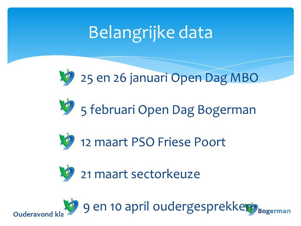 Belangrijke data 25 en 26 januari Open Dag MBO