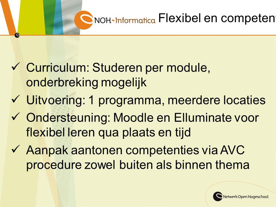 Flexibel en competent Curriculum: Studeren per module, onderbreking mogelijk. Uitvoering: 1 programma, meerdere locaties.