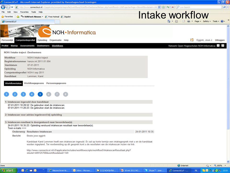 Intake workflow