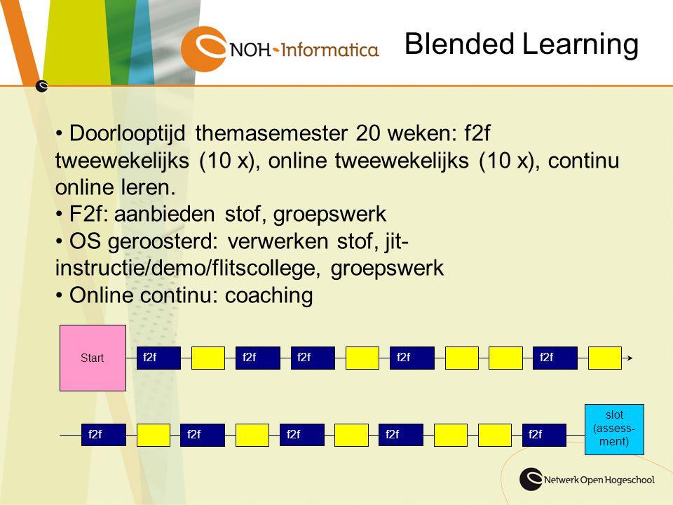 Blended Learning Doorlooptijd themasemester 20 weken: f2f tweewekelijks (10 x), online tweewekelijks (10 x), continu online leren.
