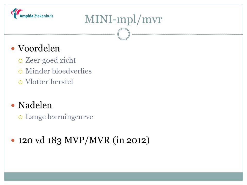 MINI-mpl/mvr Voordelen Nadelen 120 vd 183 MVP/MVR (in 2012)