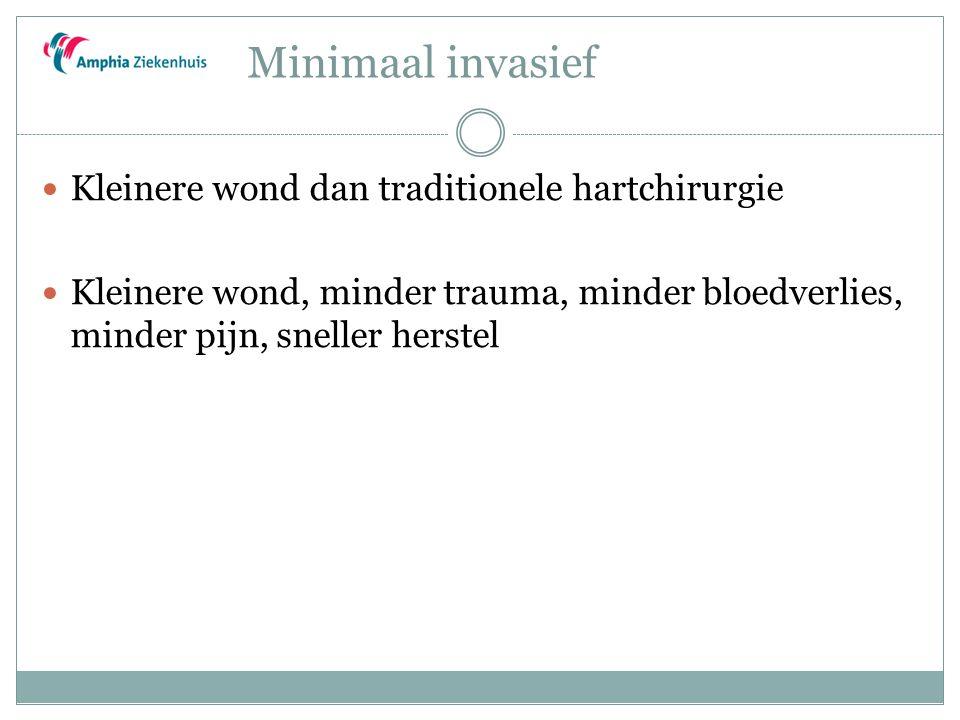 Minimaal invasief Kleinere wond dan traditionele hartchirurgie